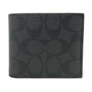 Coach Signature Compact ID PVC Men's Wallet Black